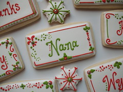 Place Card Close-Up (SweetSugarBelle) Tags: snowflake christmas red holiday green cookie lime placecard