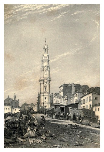 036-La torre del clero en Oporto-The tourist in Portugal 1839- James Holland