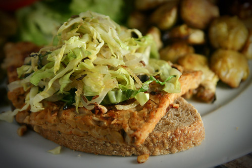Tempeh Burger with Sauteed Cabbage and Caraway Seeds
