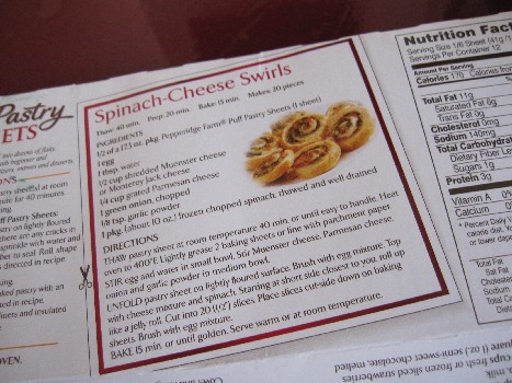 Recipe on the back of the box