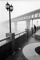 , (BIGZEN) Tags: bridge winter people film fog river blackwhite riverside streetlamp yangtzeriver wuhan hubei changjiang