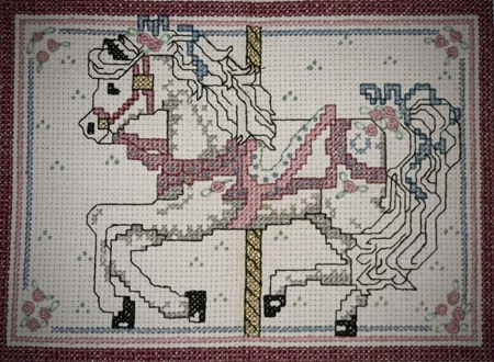 first cross stitch carousel horse