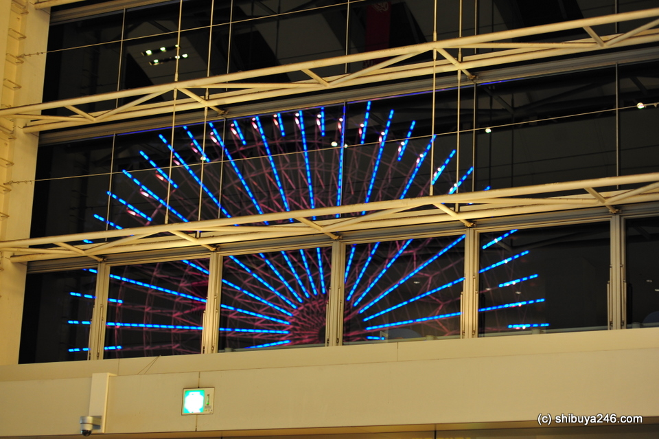 The Ferris Wheel seen from inside the Queen's Square shopping mall.