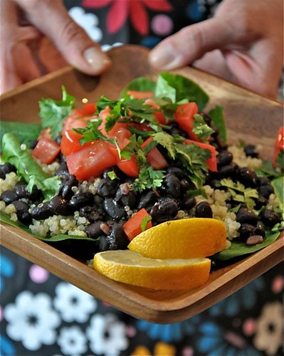 Filled with plant based protein, this Vegan Black Bean Quinoa Spinach Salad is a great way to reset your eating. Love it for a light, yet filling lunch!
