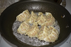 finishing gyoza pork cooked