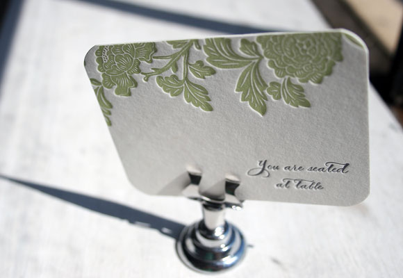 Letterpress Escort Cards by Smock