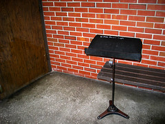 UF Music Building Music Stand Bench Door Brick