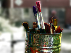 Paint Brushes (Kara Allyson) Tags: summer camp color colors kids fun happy paint colours peaceful can brush brushes facepaint blurr summerdays summercamp paintbrushes selectivecoloring facepaintbrushes