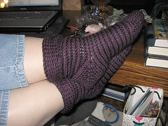 purple and black stripey socks 2