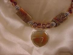 Green OrangeWireWrap Stone Pendant 1 (davestreasures) Tags: stone necklace jasper copper bead amethyst geode opal emerald onyx pendant collaborate sterlingsilver tourquoise dichroicglass