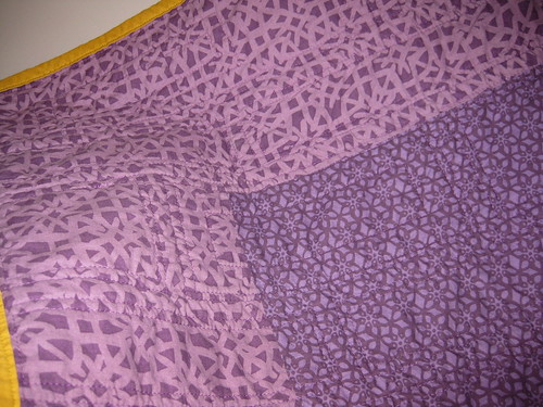 green violet quilt detail quilting back