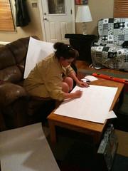 Rachel, sketching the rocking horse (JasonN) Tags: redoak rockinghorse woodworking danishoil watco