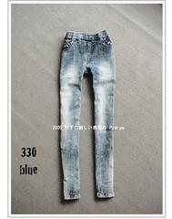 330(( PINK-YA )) * A660009 * 韓組 : 釘釦口袋反白刷色彈性窄管單寧褲 blue