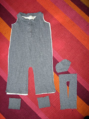baby overalls -- pieces cut out from shirt