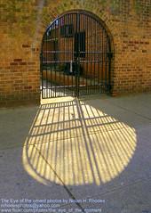 Feeling the Suns Warmth (nrhodesphotos(the_eye_of_the_moment)) Tags: sun building brick metal reflections project gate shadows manhattan entrance warmth rays walls exit nrhodesphotosyahoocom wwwflickrcomphotostheeyeofthemoment theeyemomentphotosbynolanhrhodes dscn2888nhrt