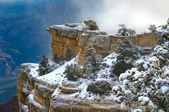 THROUGH THE MIST (Aspenbreeze) Tags: trees arizona sky mist snow fog rocks grandcanyon canyon potofgold grandcanyonarizona coth5 aspenbreeze