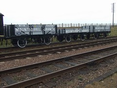 All three replica Mountsorrel Granite wagons on display at the Great Central Railway