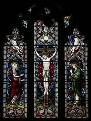 Stained glass crucifixion Hardman Byfield