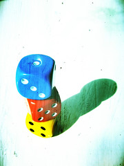 LOADED (Neal.) Tags: blue shadow red dice texture yellow scotland snowman colours fuji games crossprocessing stuff loaded f31d niffty