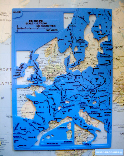 Map stencil of Europe
