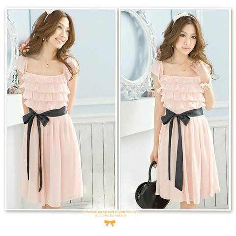 rose tiered formal dress