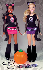 Let's Make a Jack-o-Lantern Halloween Barbie and Christie dolls (2007) (Charles (dollstuff.net)) Tags: halloween fashion cat pumpkin costume doll artist jackolantern oneofakind ooak barbie clothes prototype handpainted customized christie custom hobbit mattel repaint repainted playline