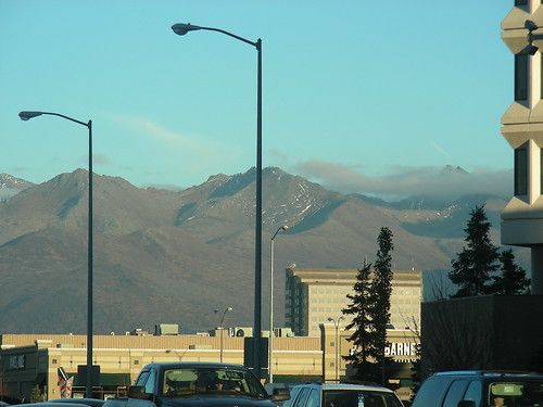 Chugach Mountains from midtown. Hard to believe this its Oct. 12, & weve already seen termination dust.