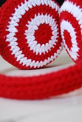Earmuff in red and white 'Red Ready' by HandMaid Liset (Studio SOIL) Tags: winter red white design handmade crochet craft cotton own haken croch earwarmers hakeln