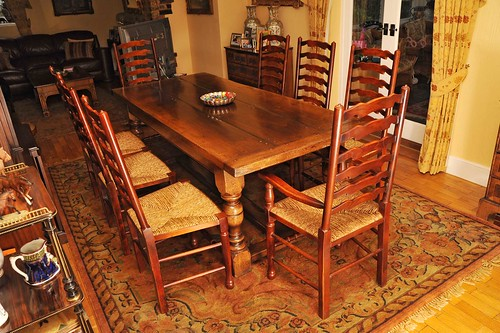 Set Farmhouse Ladderback chairs and Refectory Table Kitchen Furniture by canonburyantiques