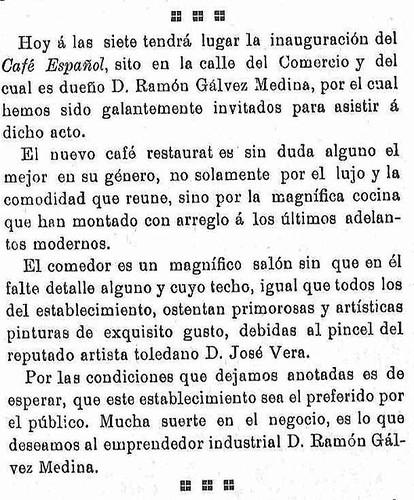 Noticia de la inauguración del café Español de Toledo en el semanario La Justicia. 20-2-09