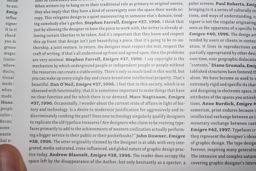 Emigre 70 > I'm quoted on the inside front cover.