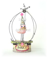 *PiNKy tHe BiRD* (sPaRK*YouR*iMaGiNaTioN) Tags: pink original party bird art birdcage hat collage glitter fairytale altered vintage silver paper wire handmade folk cage ephemera fantasy button fairyland whimsical sculpted effa zne earthangelstoys
