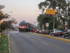 Eastbound Metra evening rush hour local commuter train. Elmwood Park Illinois. September 2007.