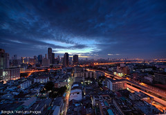 Good Morning Bangkok, City of Angels! (Ken.Lam) Tags: blue sunrise thailand cityscape traffic bangkok hour skytrain 1224mm urbanscape silom