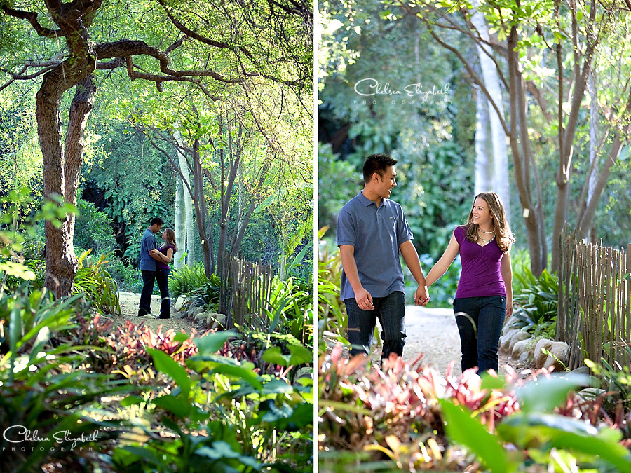 UCLA garden tropical engagement photo
