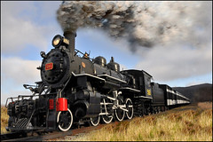 It's Hard To Stop A Train (Zircon_215) Tags: train smoke trainengine railwaymuseum newfiebullet cornerbrook photoshopelements5 humbermouth nikond300 newfoundlandrailway railwaysocietyofnewfoundlandhistorictrainsite
