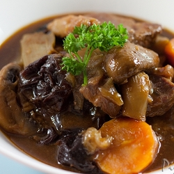 A Manly Guinness Beef Stew with prunes