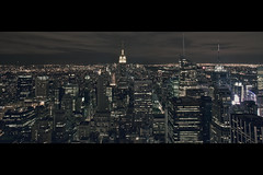 For Those About To Rockefeller [20mm] (- Loomax -) Tags: city urban panorama newyork building skyline night view manhattan rockefellercenter midtown empirestatebuilding topoftherock sgr cinemascope