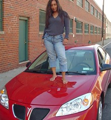 Barefoot Woman Denting Car Hood (RoughToughSoleMan) Tags: girls woman cars car female fetish foot high women toes bare dry arches heels latina rough tough soles ebony cracked stomping trampling arched calloused