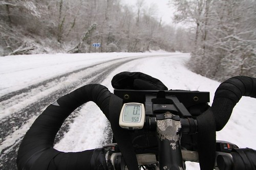 Challenging winter cycling north of Brive...