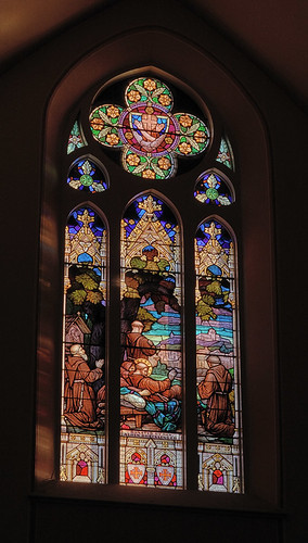 Saint Francis of Assisi Roman Catholic Church, in Aviston, Illinois, USA - Franciscan stained glass window