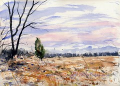 Landscape Near Sundance Stables (Art and Nature-Mike Sherman) Tags: winter snow art rural painting landscape michigan farm fineart january pleinair transparentwatercolor greaterlansing