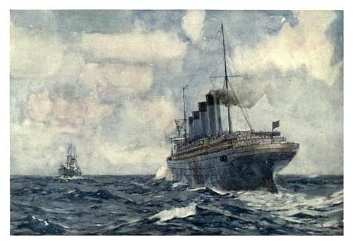 026- El SS Lusitania como crucero auxiliar de guerra-The Royal Navy (1907)- Norman L. Wilkinson