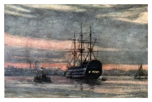 020- El atardecer sobre el HMS Victory-The Royal Navy (1907)- Norman L. Wilkinson