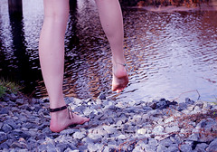 just go. (dazedreverie) Tags: feet water girl pond rocks legs maddy stepping anklet