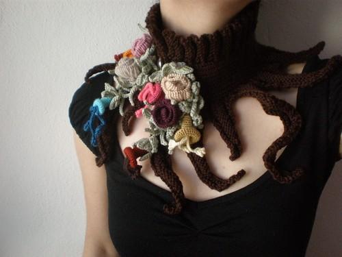 Elan ... Knitted Neckwarmer / Scarflette - Chocolate Brown