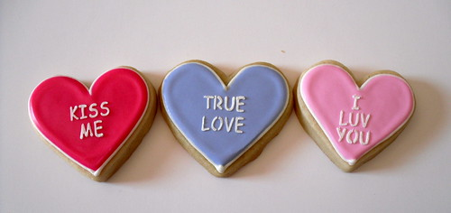 Medium Pastel Conversation Hearts Decorated Cookie