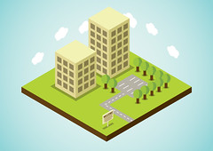 simple office world (Zeptonn) Tags: buildings cutout landscape grid office info simple information infographic informationdesign informationarchitecture infographics