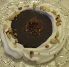 Baked NutelLava Cup with Whipped Cream & Walnuts