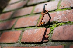 Old key hanging (MatiasSingers) Tags: old brick vintage moss rust key corrosion oldbrick oldbricks